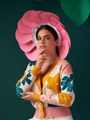 Chaqueta corta mujer con flores verde amarillo rosa