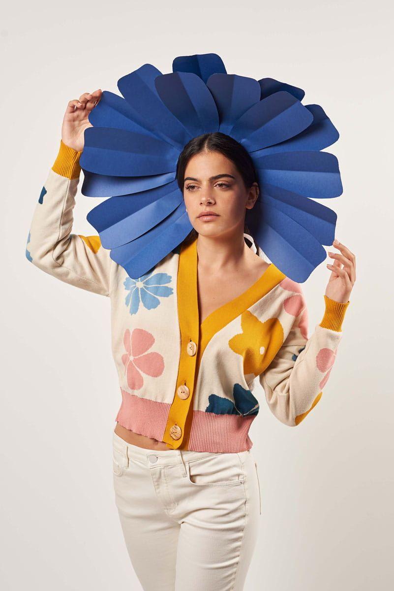 Chaqueta mujer flores color azul amarillo rosa