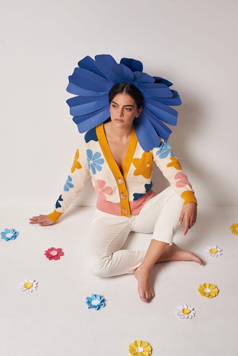 Chaqueta sostenible mujer flores color azul