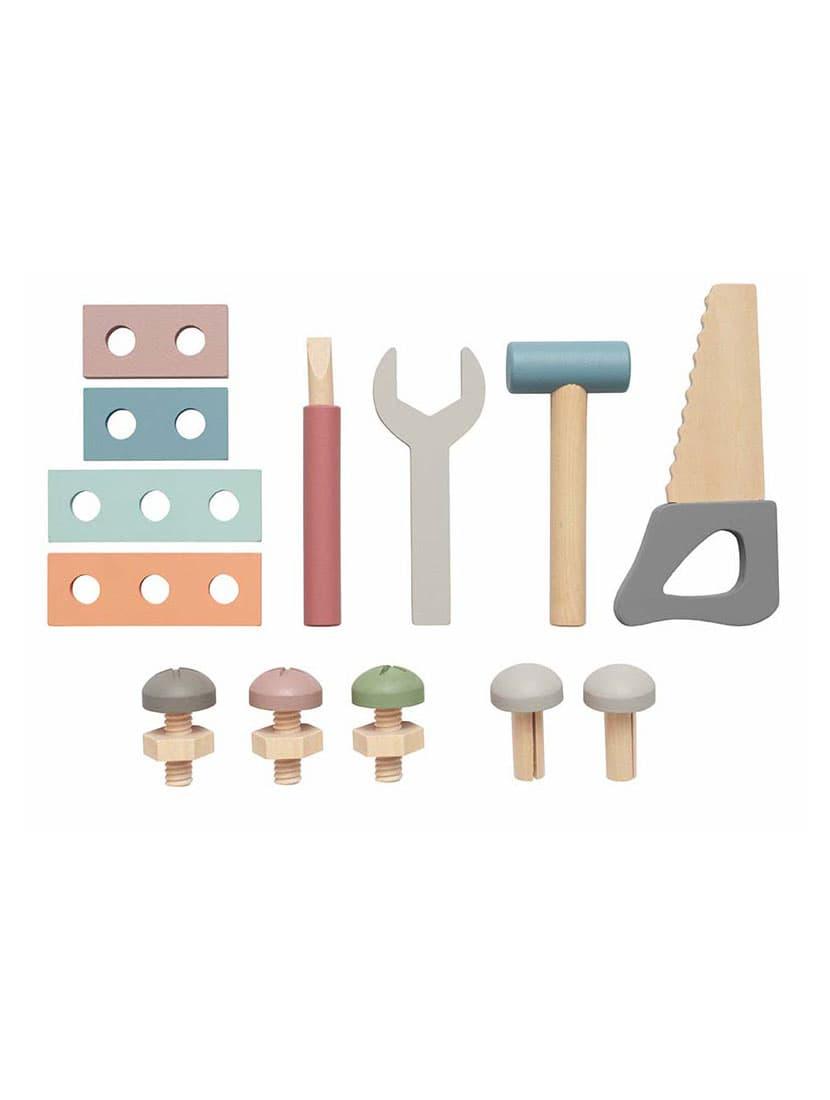 Contenido de la caja de herramientas de juguete