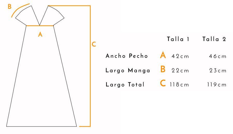 Guía de tallas vestido Malevich Crisálida