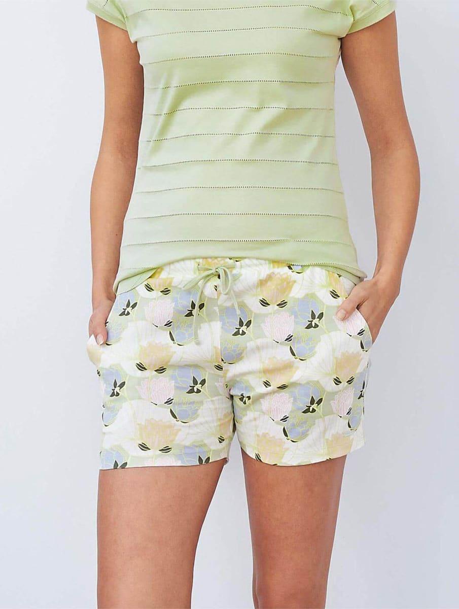 Pantalón corto pijama mujer algodón orgánico flores