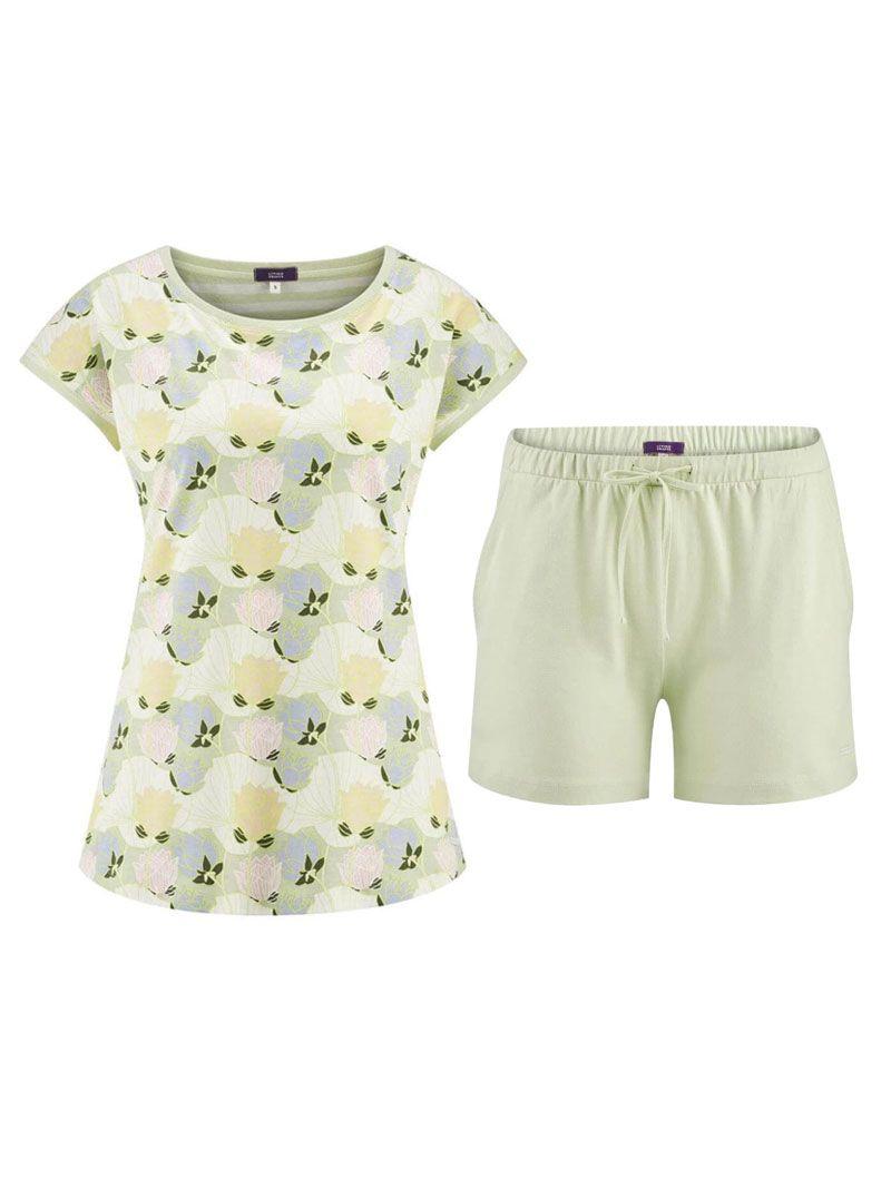 Pijama verano mujer camiseta flores pantalón verde