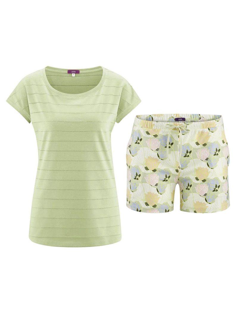 Pijama verano mujer camiseta verde pantalón flores