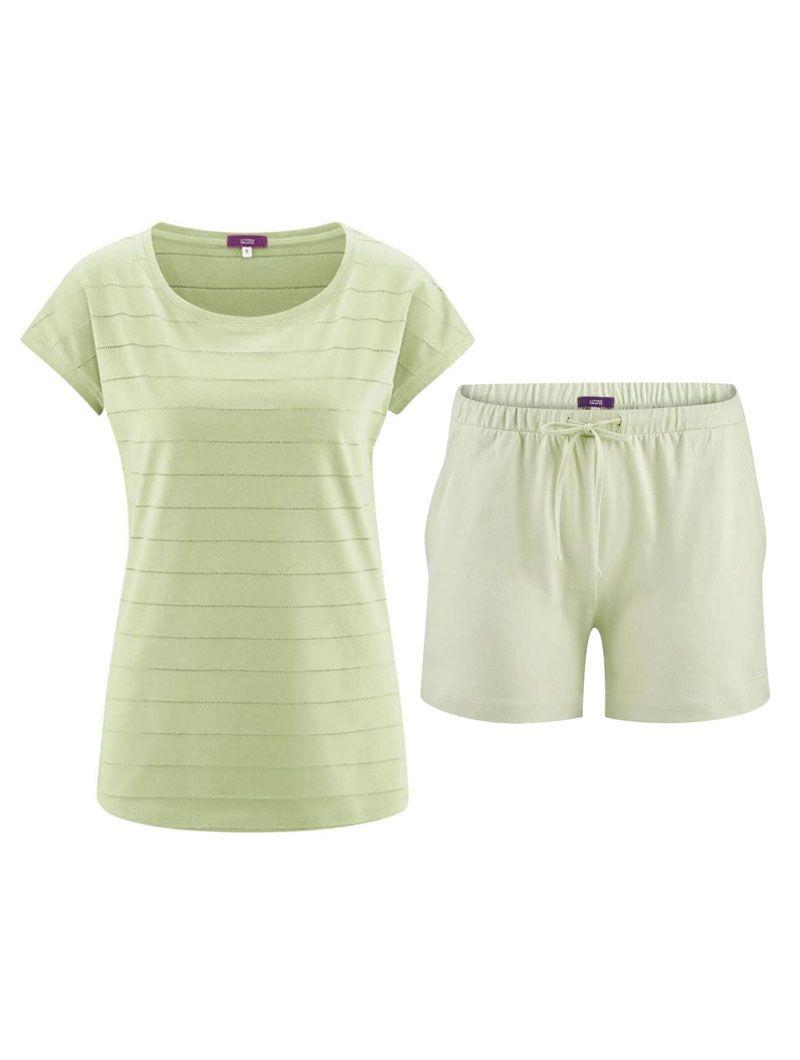 Pijama verano mujer camiseta verde pantalón verde