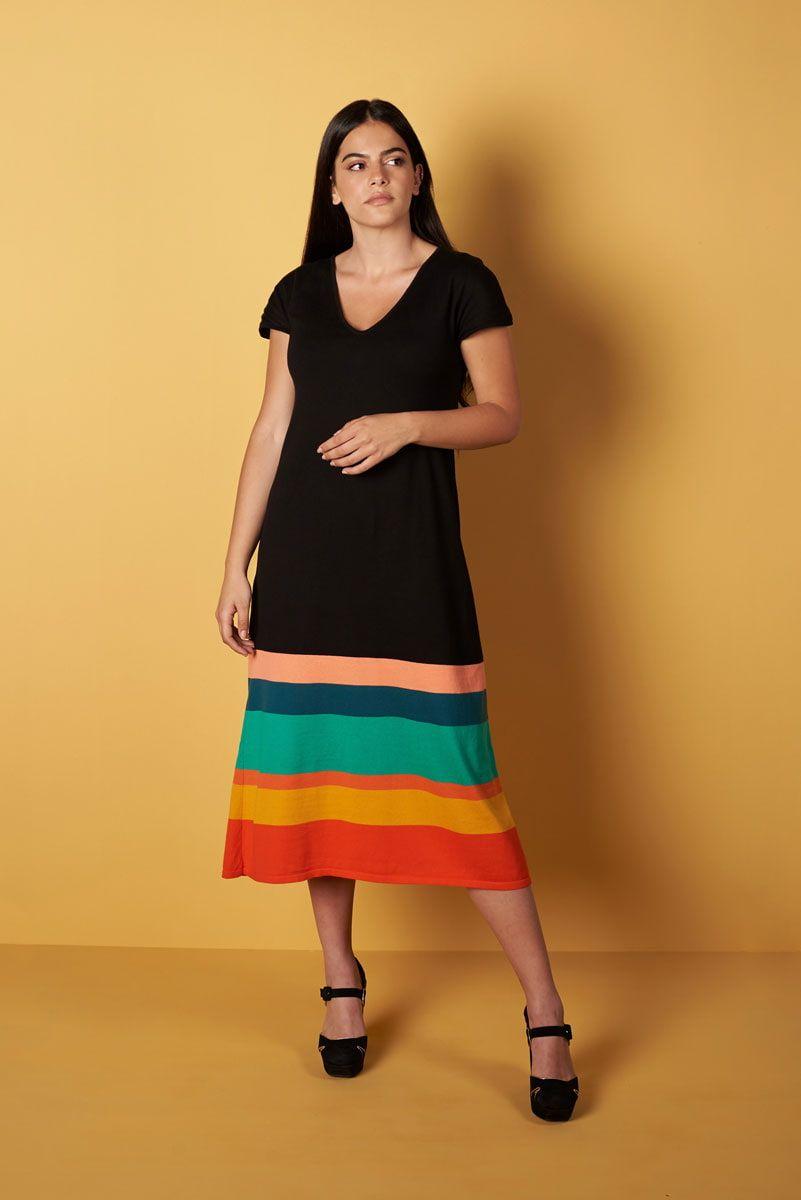 Vestido de punto con rayas de colores