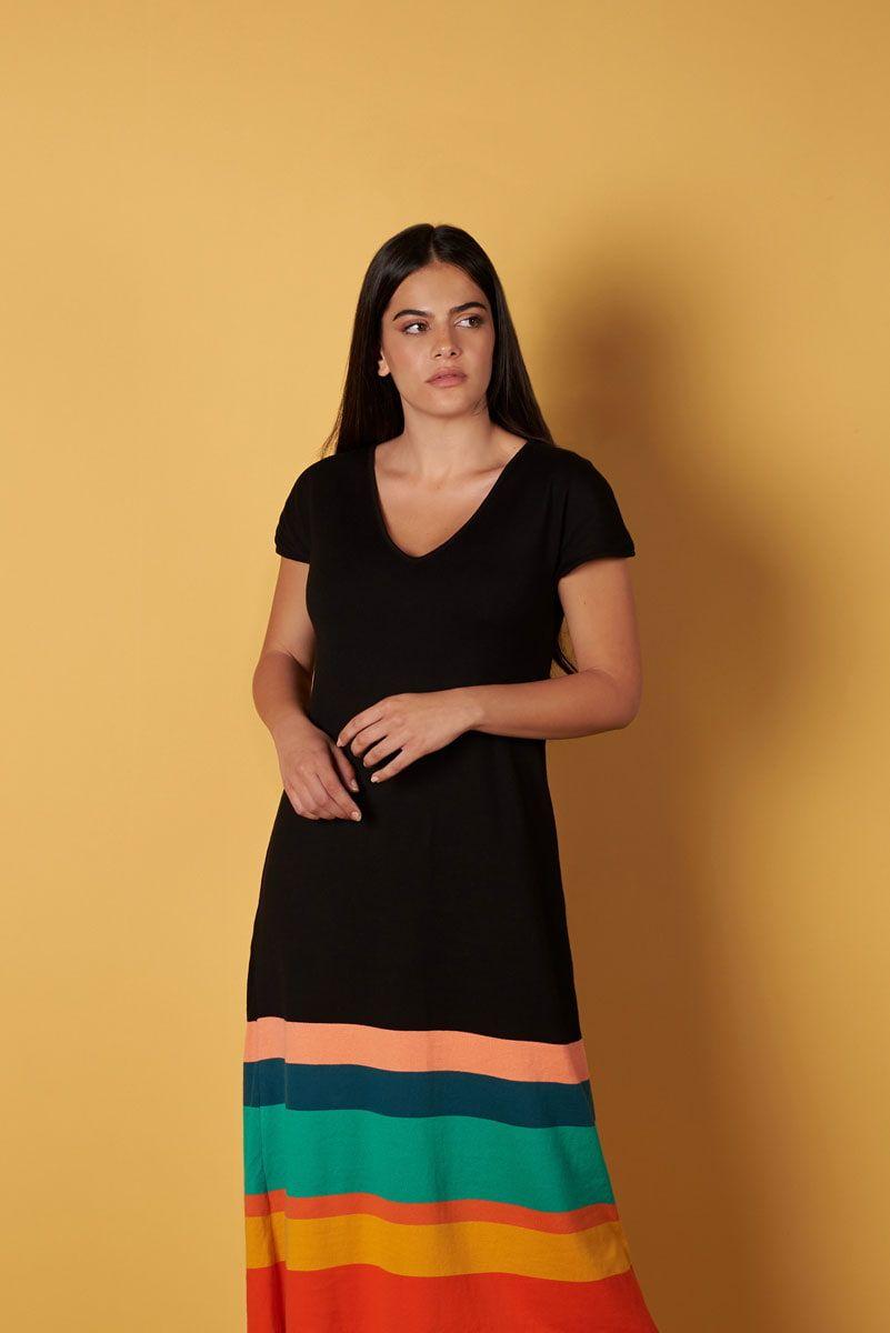 Vestido de punto verano negro con rayas colores