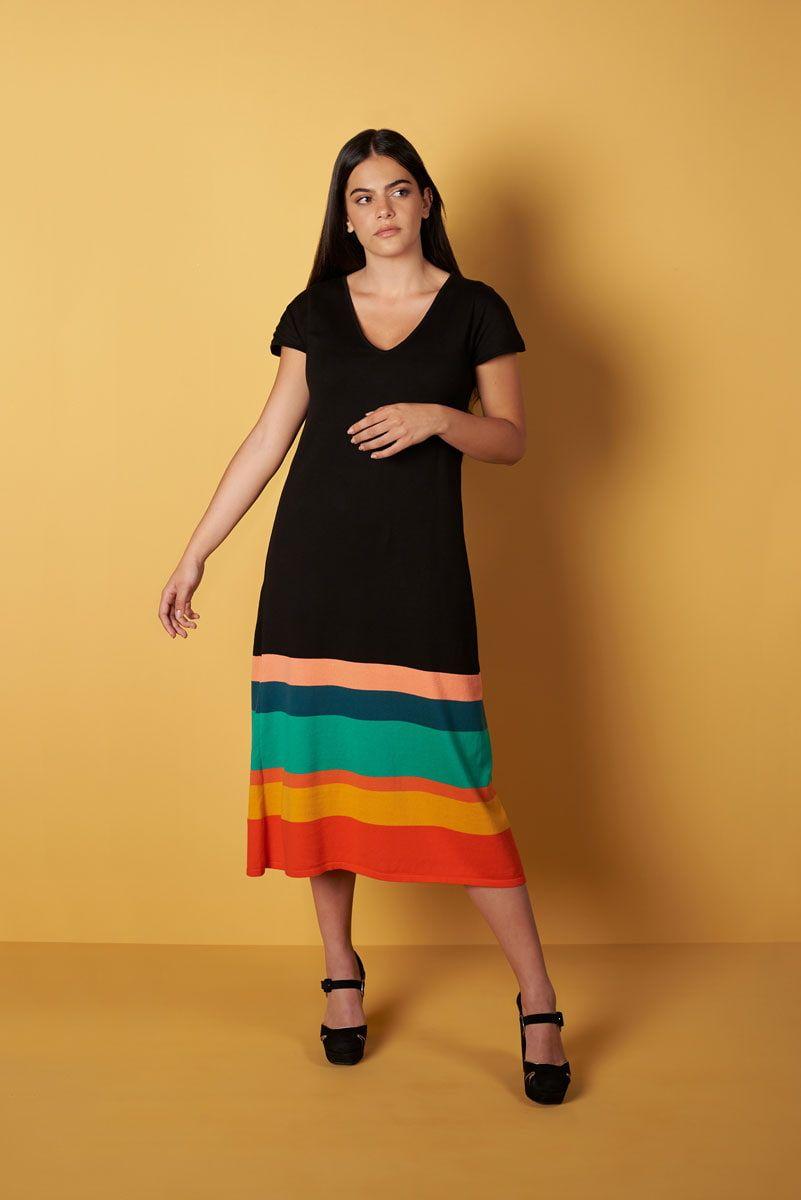Vestido punto midi rayas colores