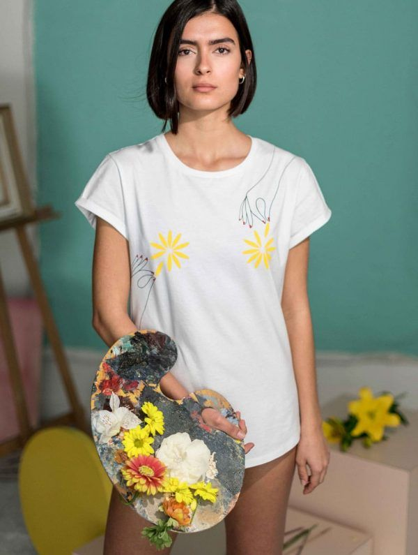 Camiseta algodón orgánico mujer pintura flores