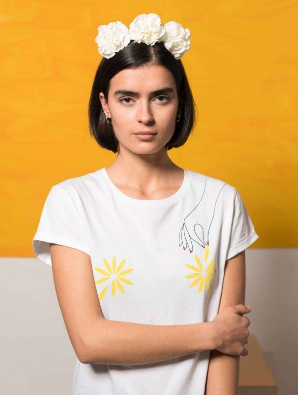 Camiseta flores 100% algodón orgánico mujer blanco