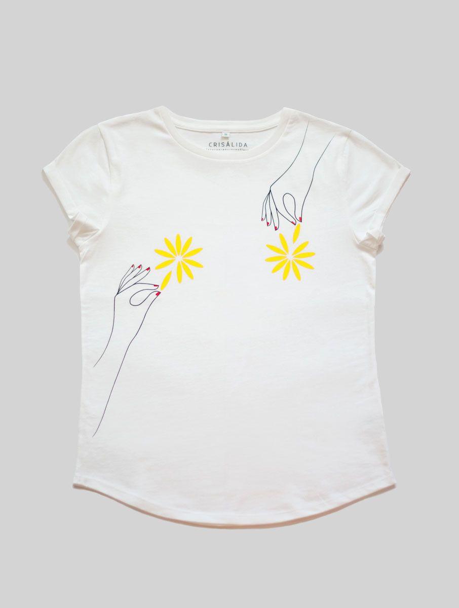 Camiseta flores algodón orgánico blanca
