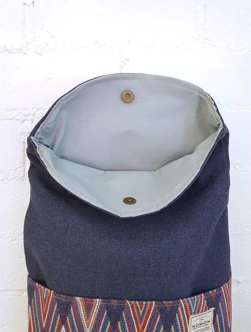 Interior mochila reciclada de tela vintage zig-zag multicolor