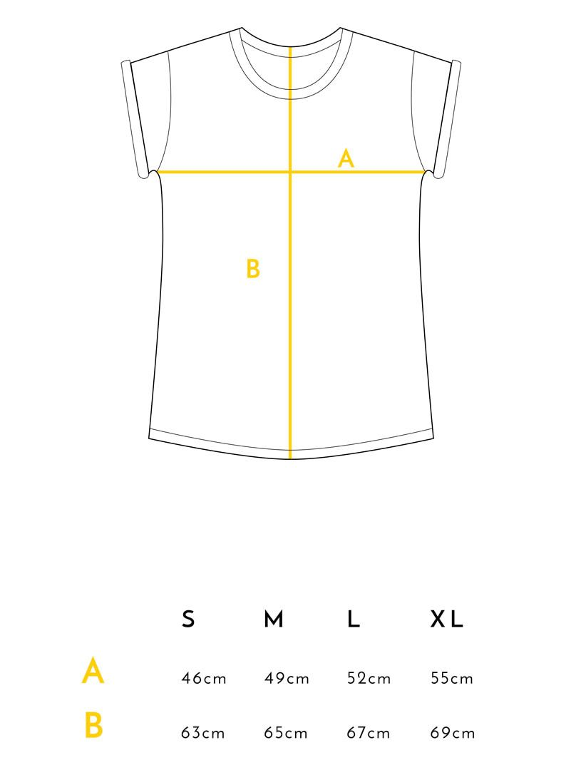 Medidas camiseta flores algodón orgánico Crisálida