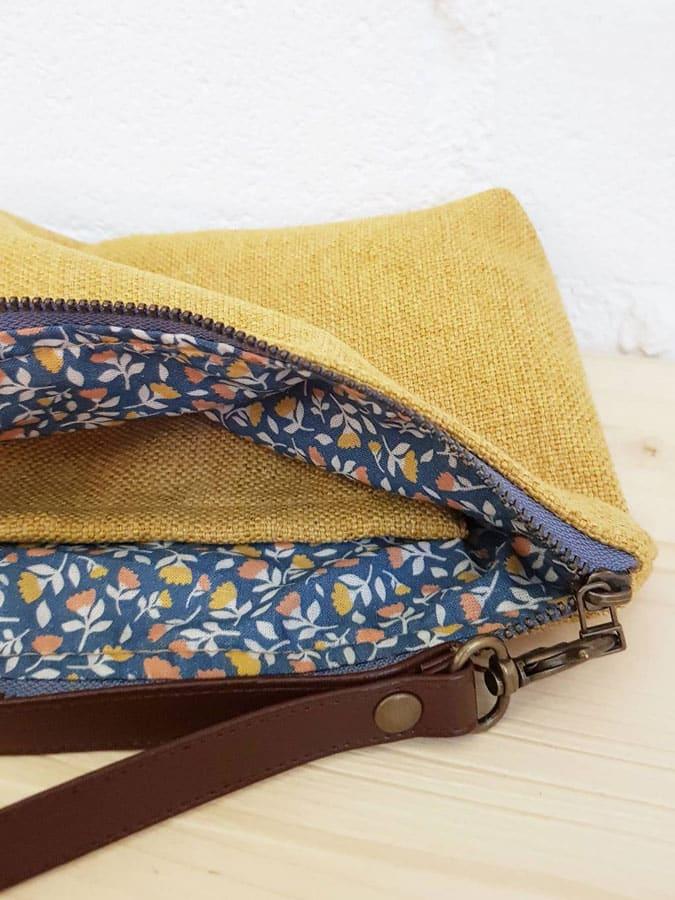 Interior flores bolso de mano amarillo upcycled