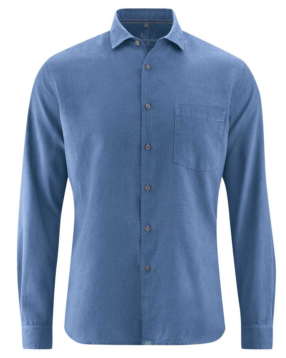 Camisa lisa hombre de cáñamo y algodón orgánico azul