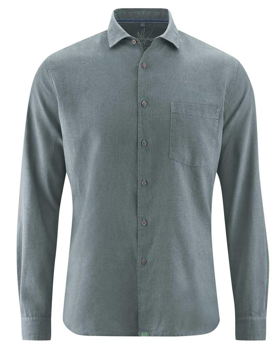 Camisa lisa hombre de cáñamo y algodón orgánico gris