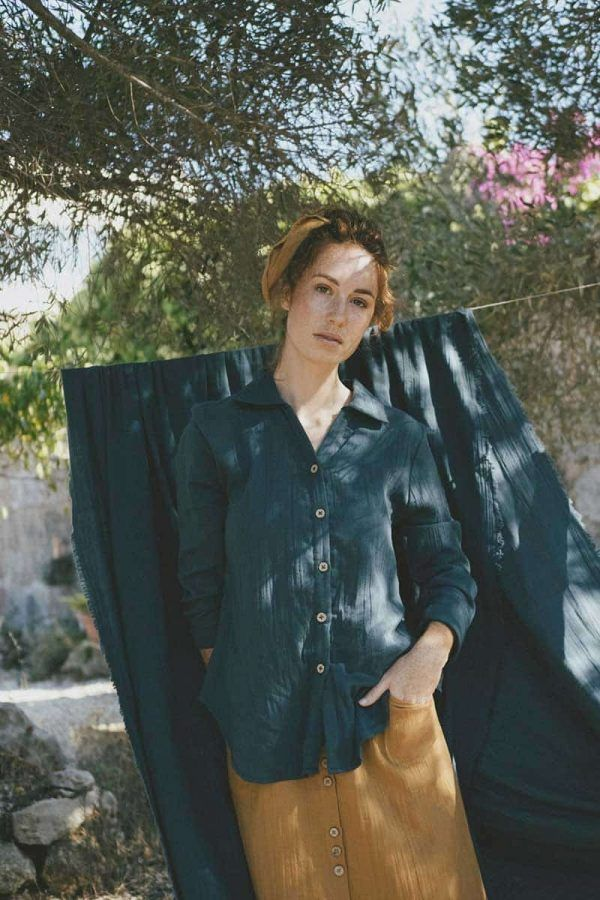 Camisa mujer azul de algodón orgánico gots