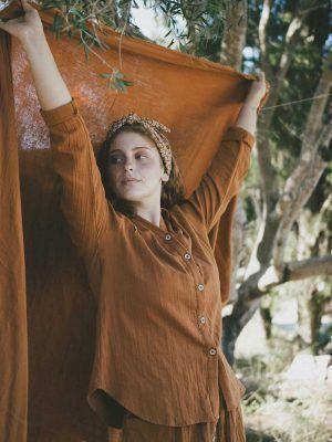 Camisa mujer color teja de algodón orgánico