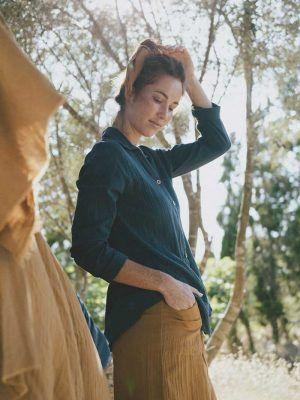 Camisa sostenible azul 100% algodón orgánico
