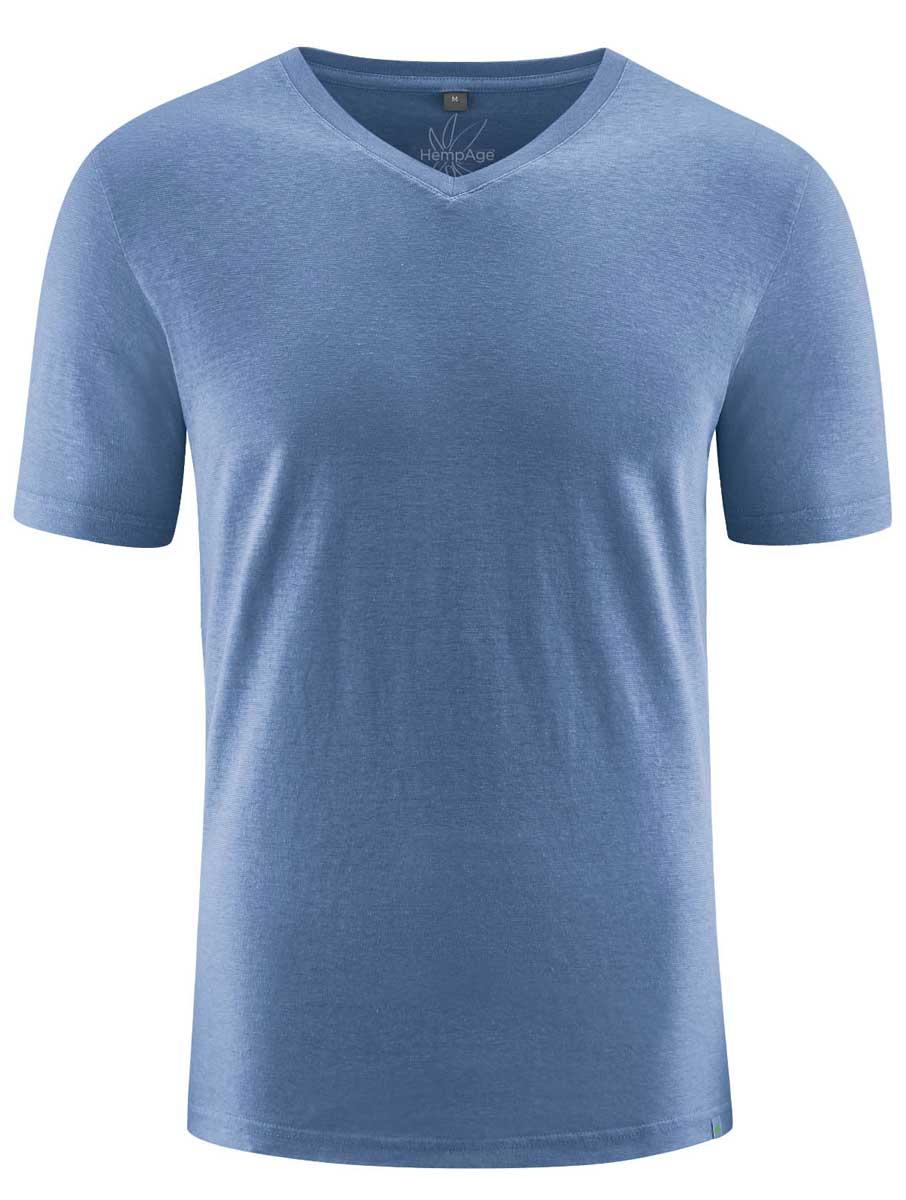 Camiseta cuello pico hombre ecológica azul