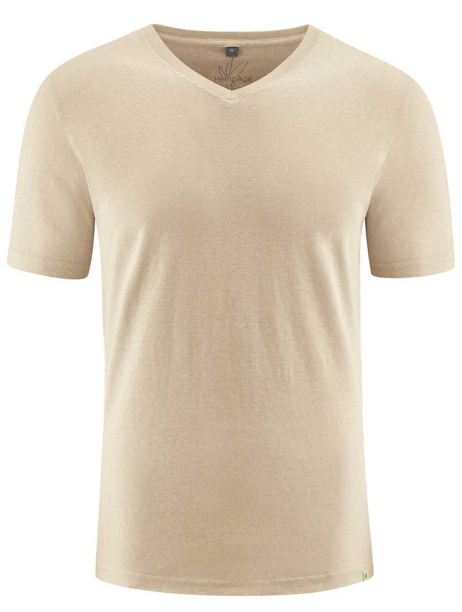 Camiseta cuello pico hombre ecológica beige
