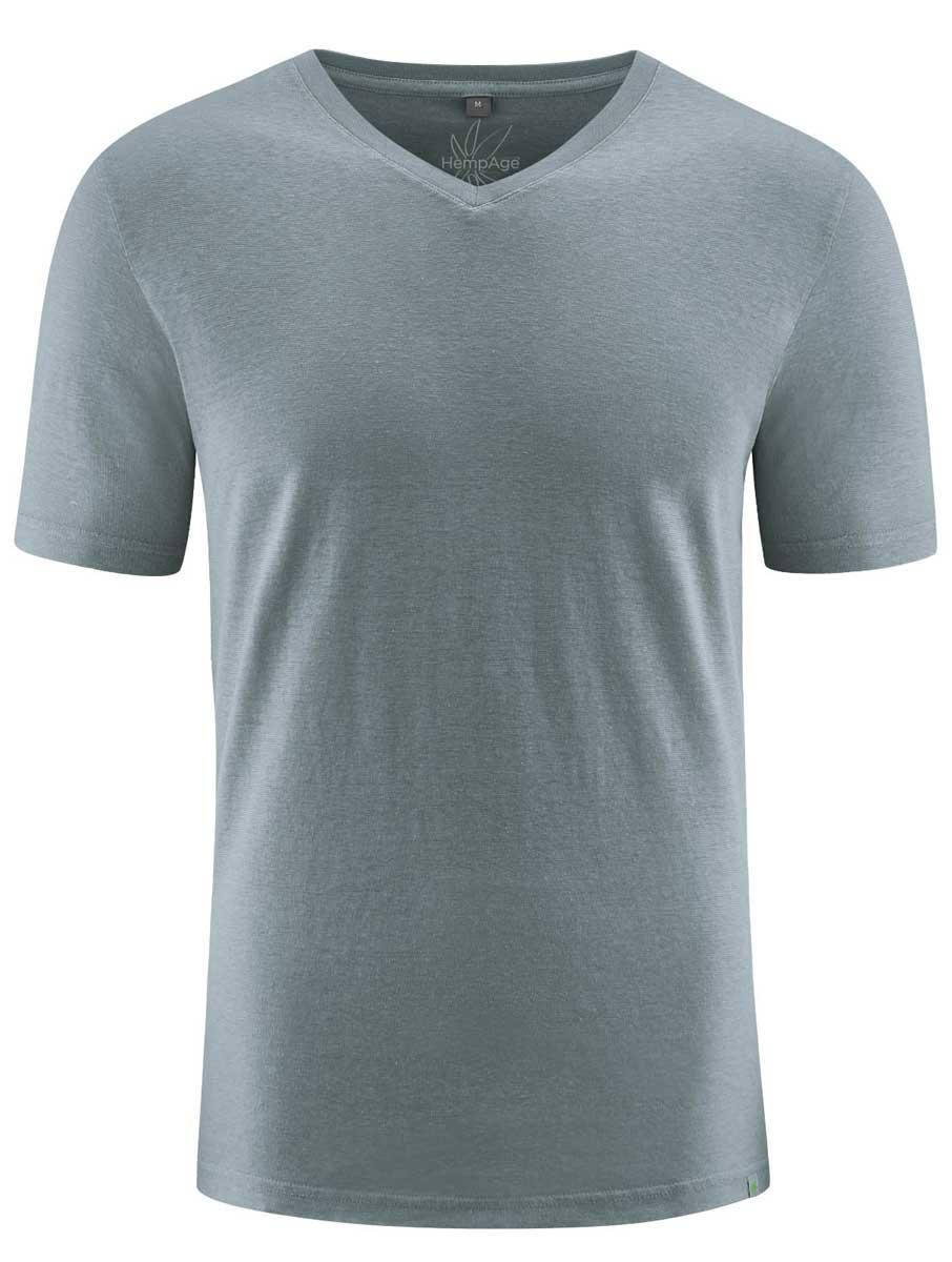 Camiseta cuello pico hombre ecológica gris