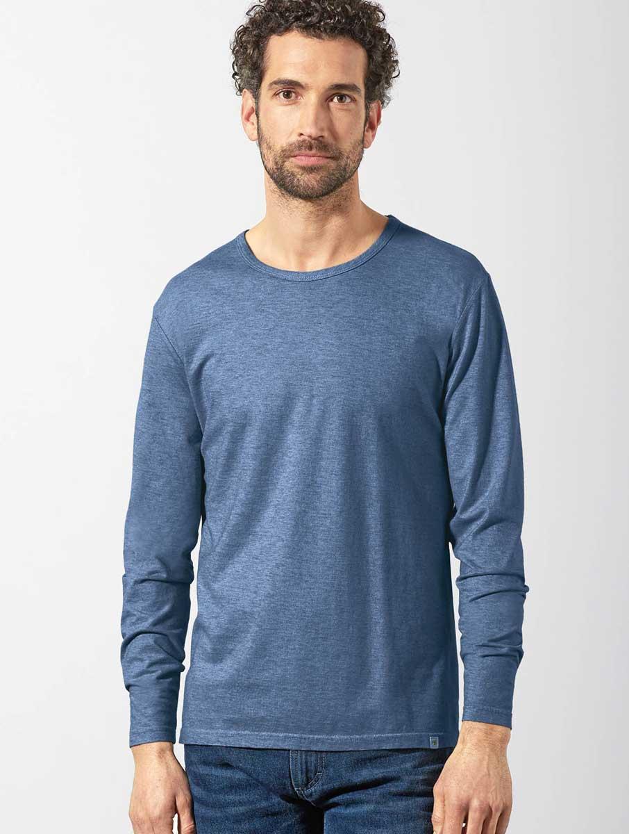 Camiseta ecológica manga larga hombre azul