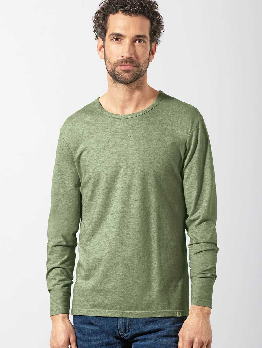 Camiseta ecológica manga larga hombre verde