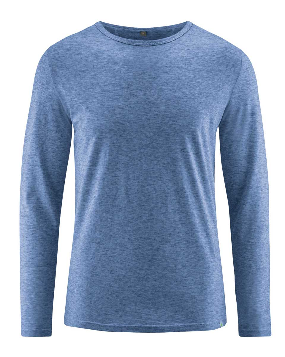 Camiseta hombre manga larga de algodón orgánico azul