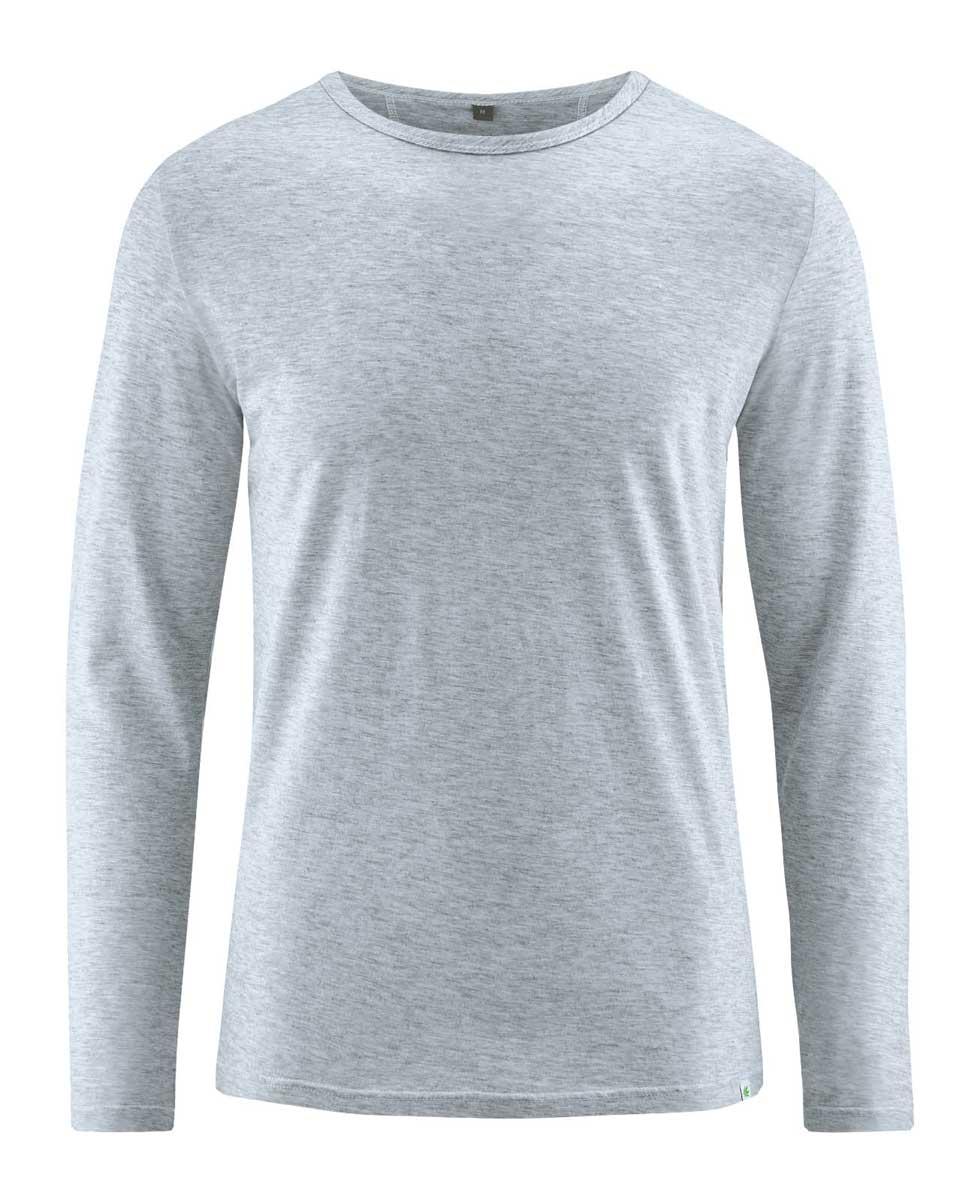 Camiseta hombre manga larga de algodón orgánico gris