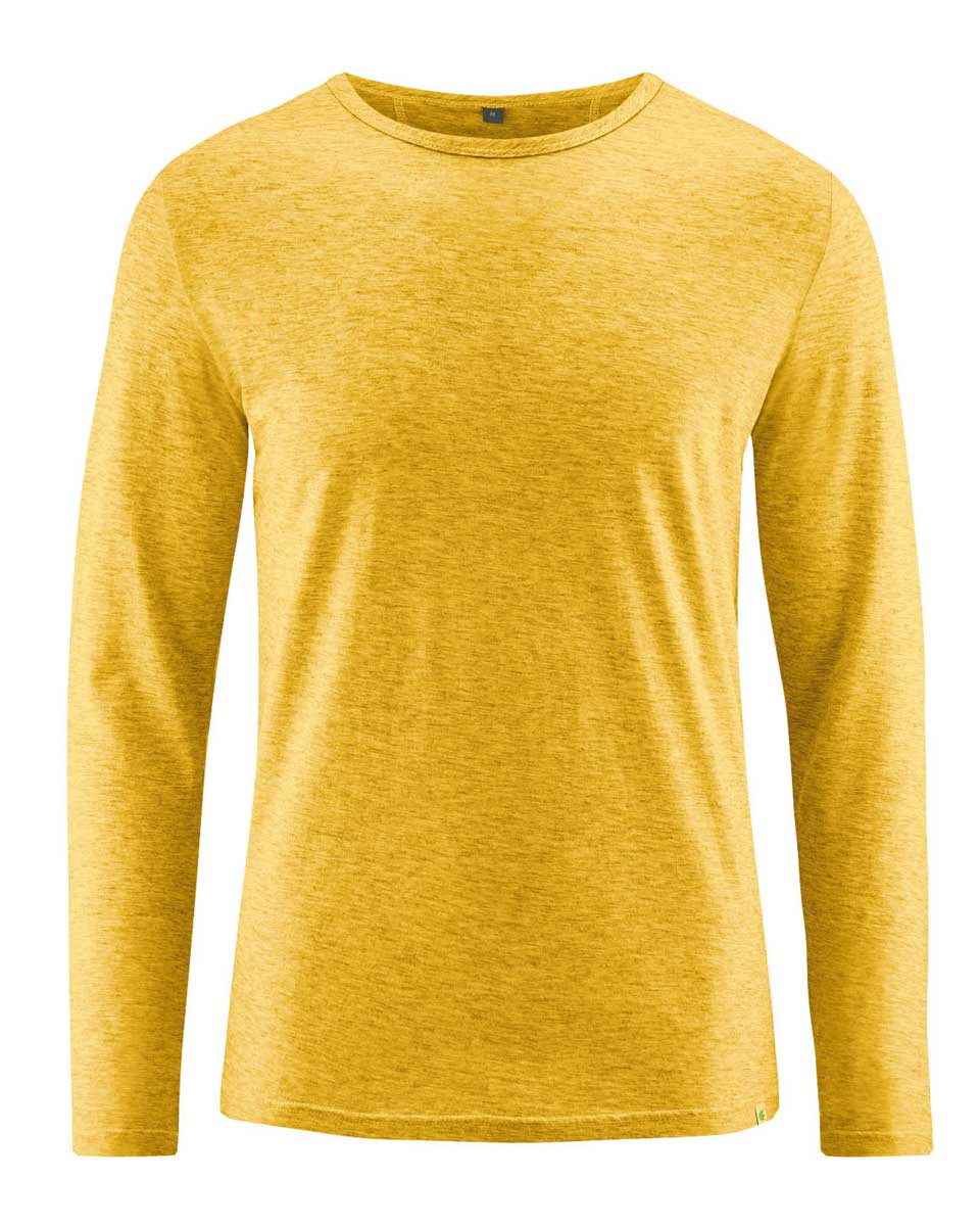 Camiseta hombre manga larga de algodón orgánico mostaza