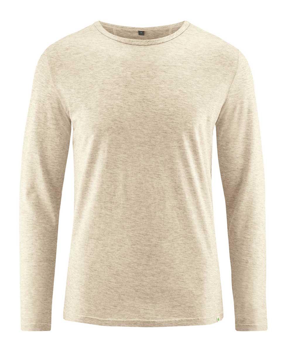 Camiseta hombre manga larga de algodón orgánico natural