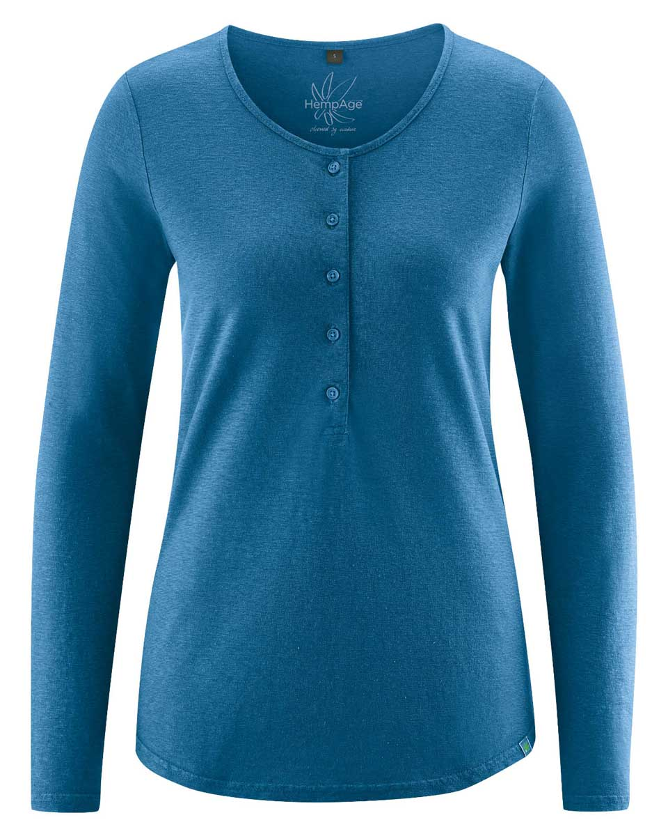 Camiseta manga larga mujer con botones azul