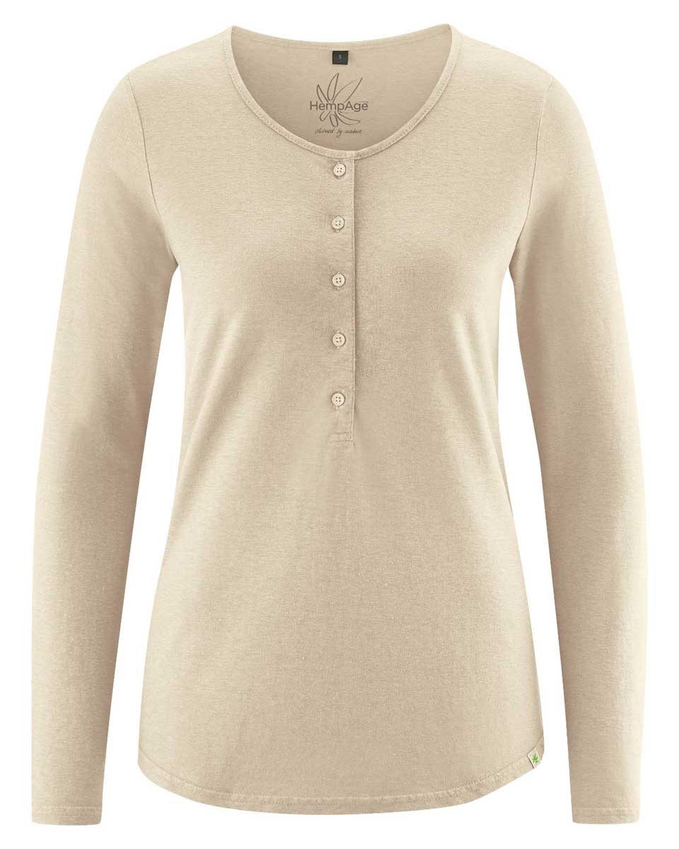 Camiseta manga larga mujer con botones beige