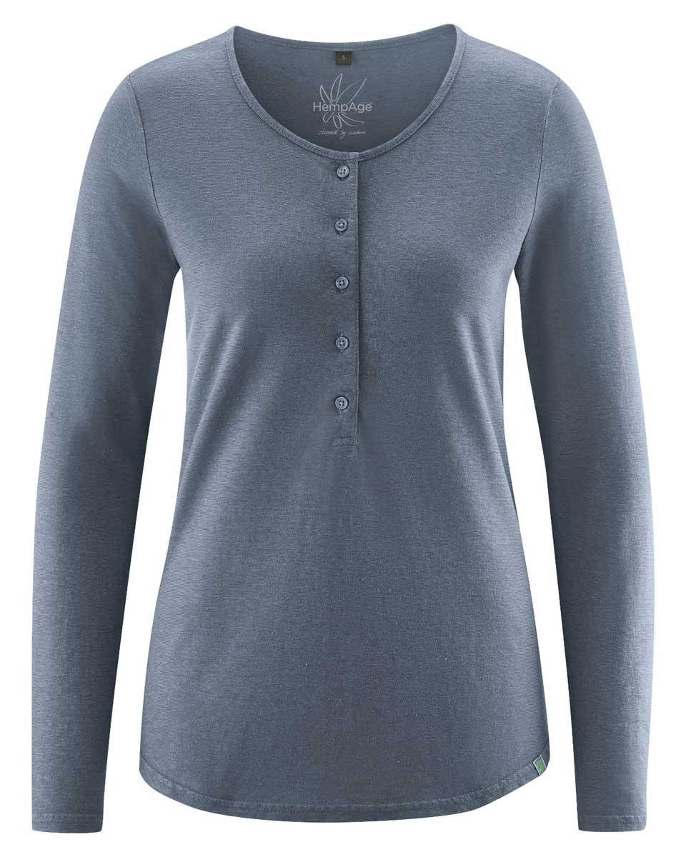 Camiseta manga larga mujer con botones gris