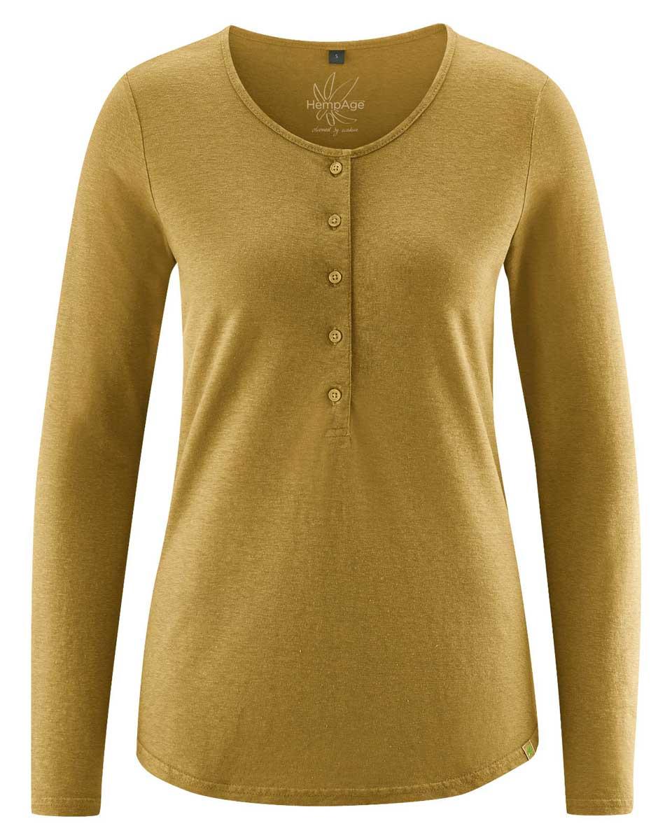 Camiseta manga larga mujer con botones mostaza