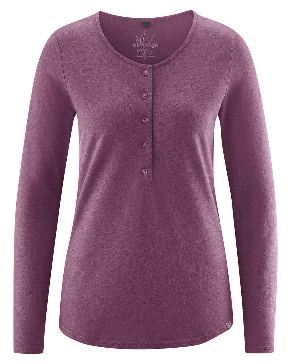 Camiseta manga larga mujer con botones púrpura