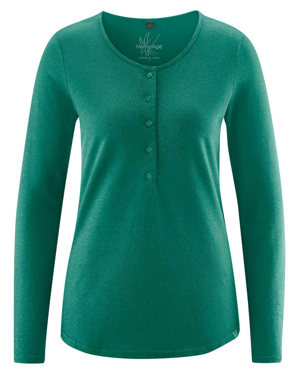 Camiseta manga larga mujer con botones verde