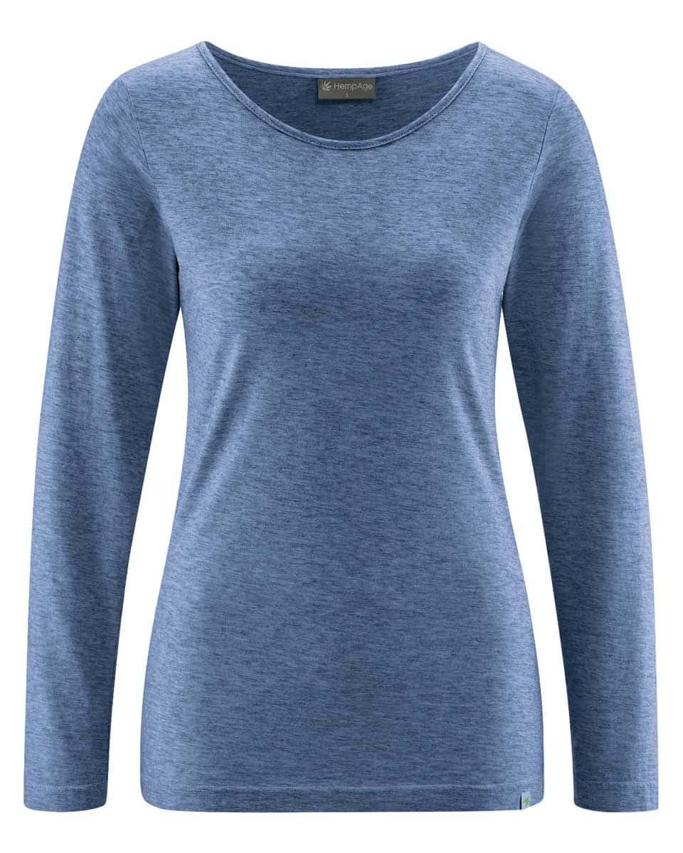 Camiseta mujer manga larga de algodón ecológico azul