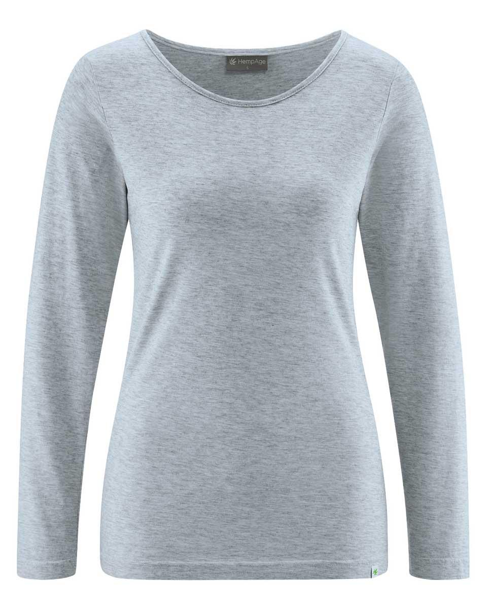 Camiseta mujer manga larga de algodón ecológico gris