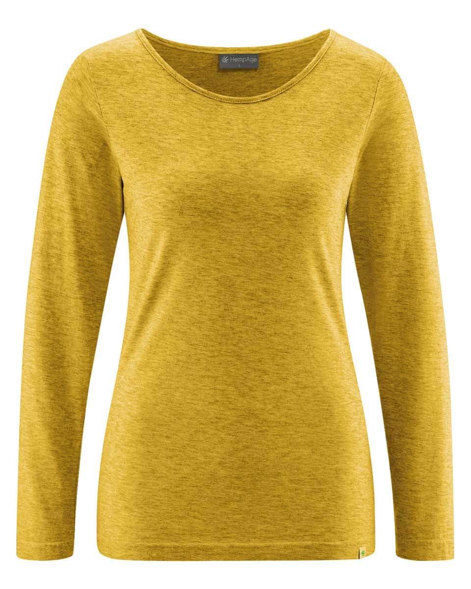 Camiseta mujer manga larga de algodón ecológico mostaza