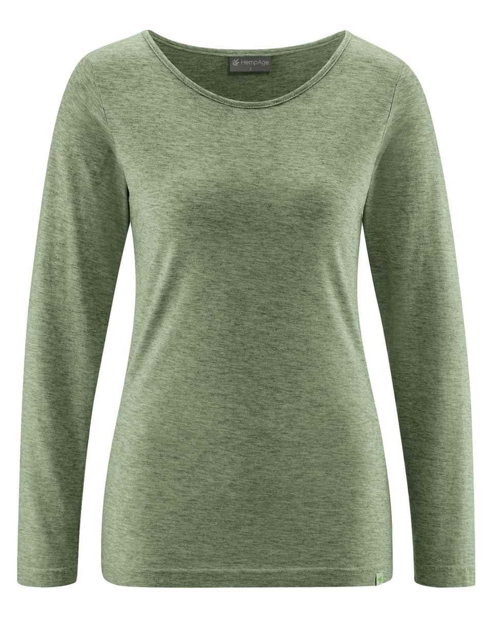 Camiseta mujer manga larga de algodón ecológico verde