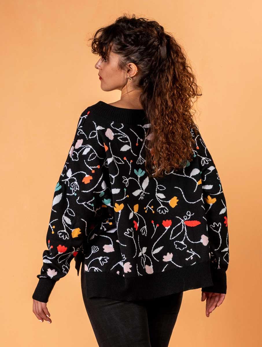 Espalda jersey de lana merino mujer con flores de colores