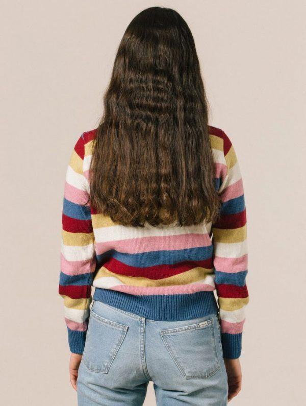 Espalda jersey rayas colores lana reciclada
