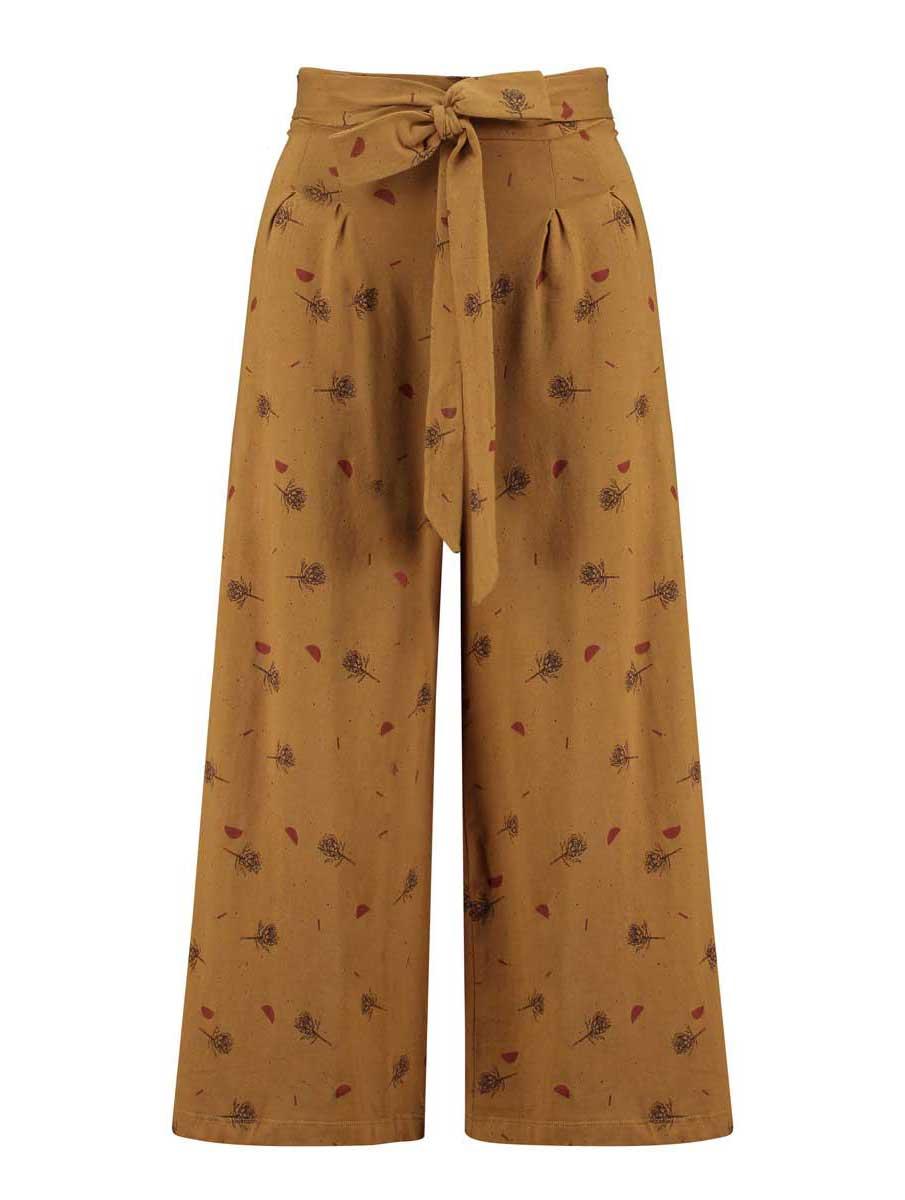 Pantalón culotte con lazo mostaza algodón orgánico