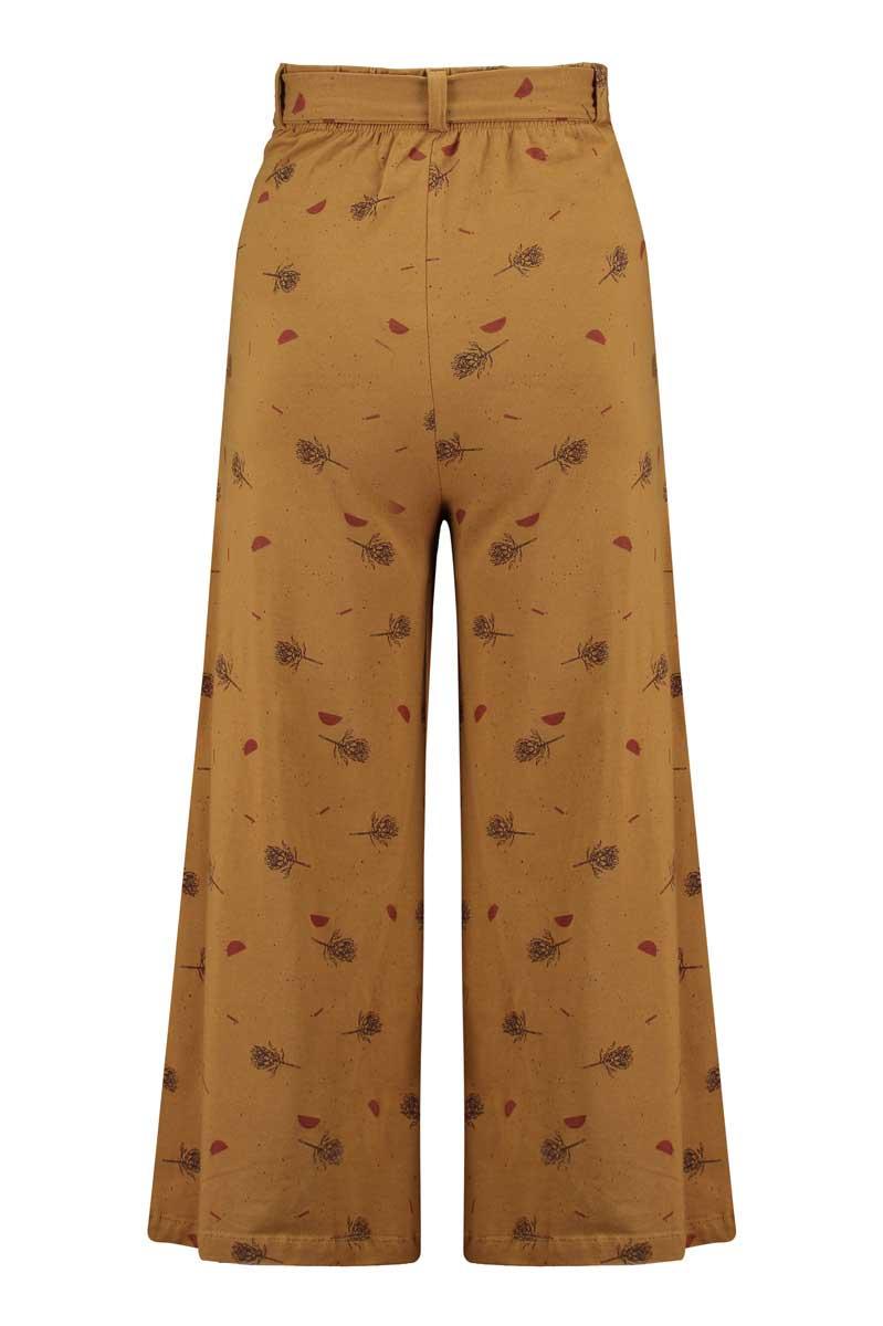 Espalda pantalón culotte con lazo mostaza algodón orgánico