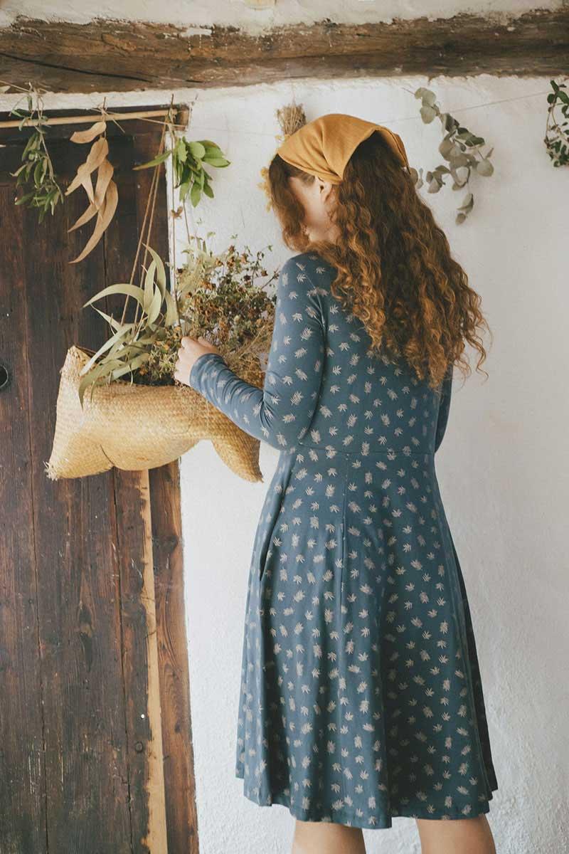Espalda vestido escote redondo ecológico hojas de helecho