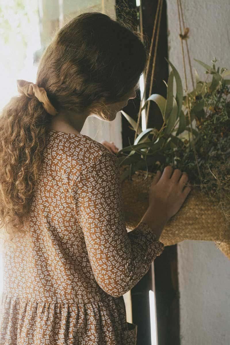 Estampado hojas de olivo vestido oversize teja mujer