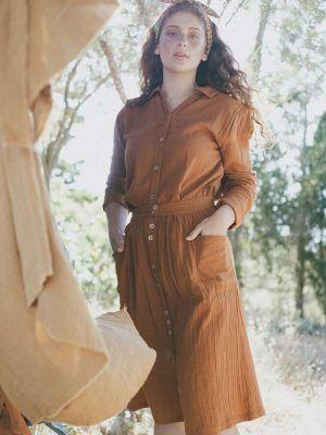Falda con botones color teja de algodón orgánico
