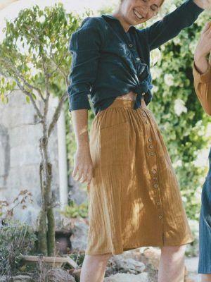 Falda mostaza algodón orgánico con botones